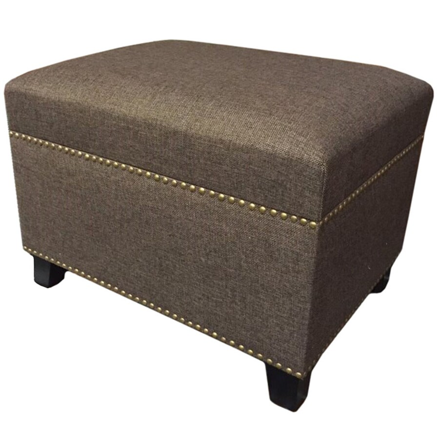 allen + roth Brown Rectangle Storage Ottoman