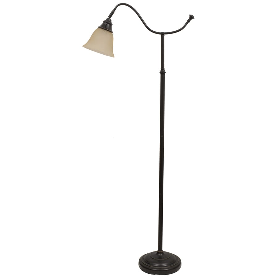 Portfolio 59-in Bronze Indoor Floor Lamp with Glass Shade