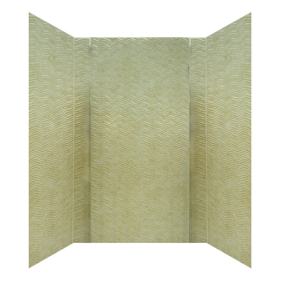 MirroFlex Wavation Travertine Fiberglass and Plastic Composite Bathtub Wall Surround (Common: 40-in x 60-in; Actual: 96-in x 40-in x 60-in)
