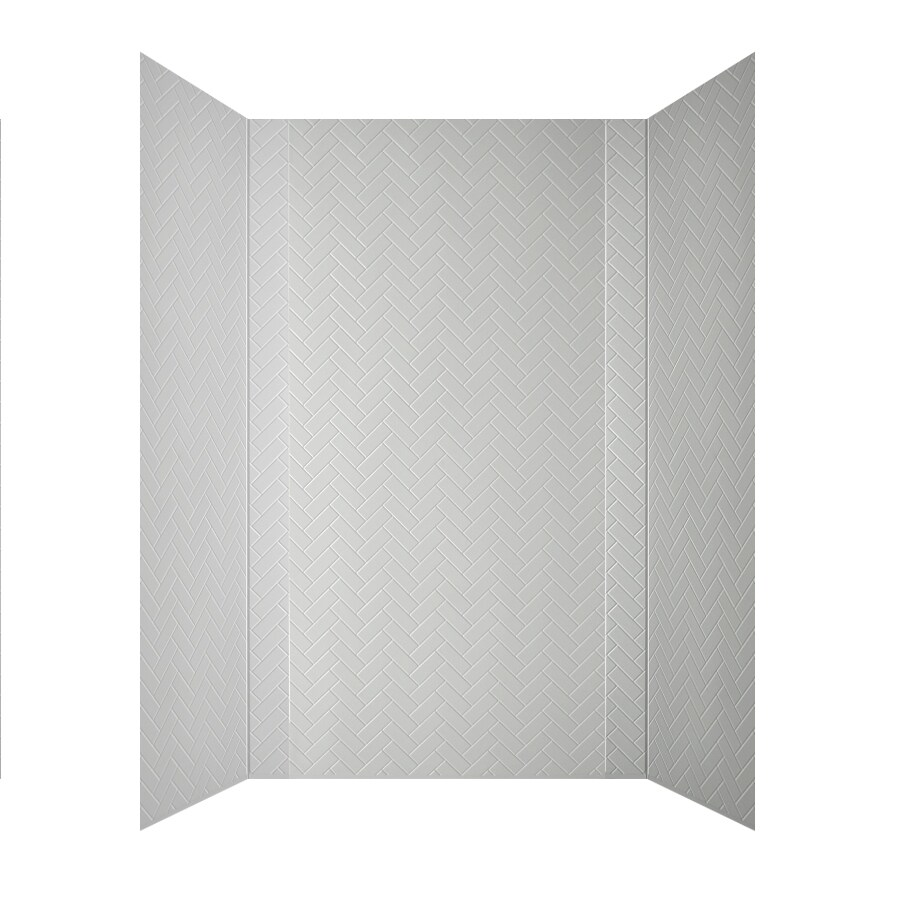 MirroFlex Herringbone White Fiberglass and Plastic Composite Bathtub Wall Surround (Common: 60-in x 32-in; Actual: 96-in x 60-in)
