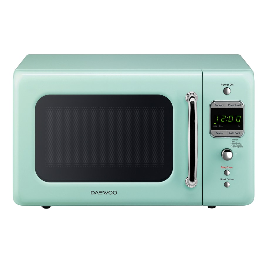 Shop Daewoo Retro 0 7 Cu Ft 700 Watt Countertop Microwave Mint Green At Low