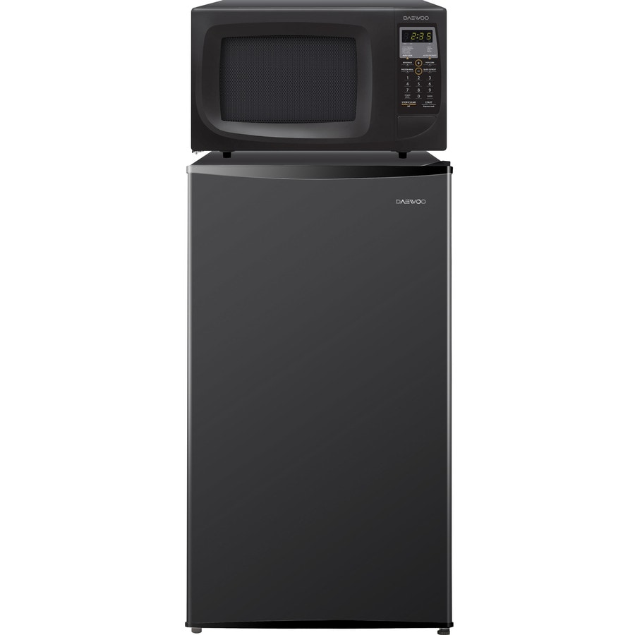 Daewoo Microwave Combo 4.2-cu ft Freestanding Compact Refrigerator with Freezer Compartment and Microwave (Black) ENERGY STAR