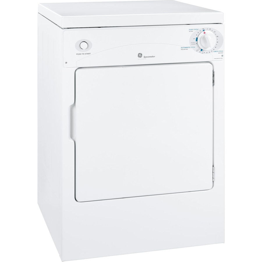 GE 3.6-cu ft Stackable Portable Electric Dryer (White on White)