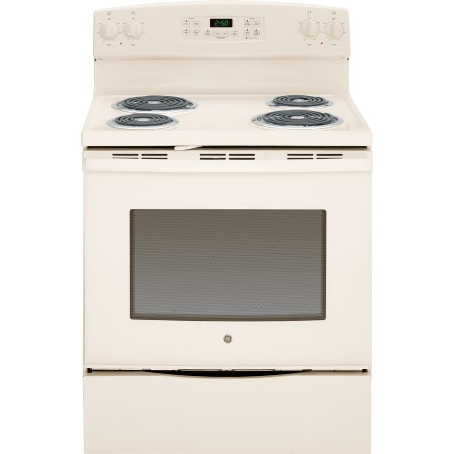 GE Freestanding 5.3-cu ft Self-Cleaning Electric Range (Bisque) (Common: 30-in; Actual: 29.87-in)