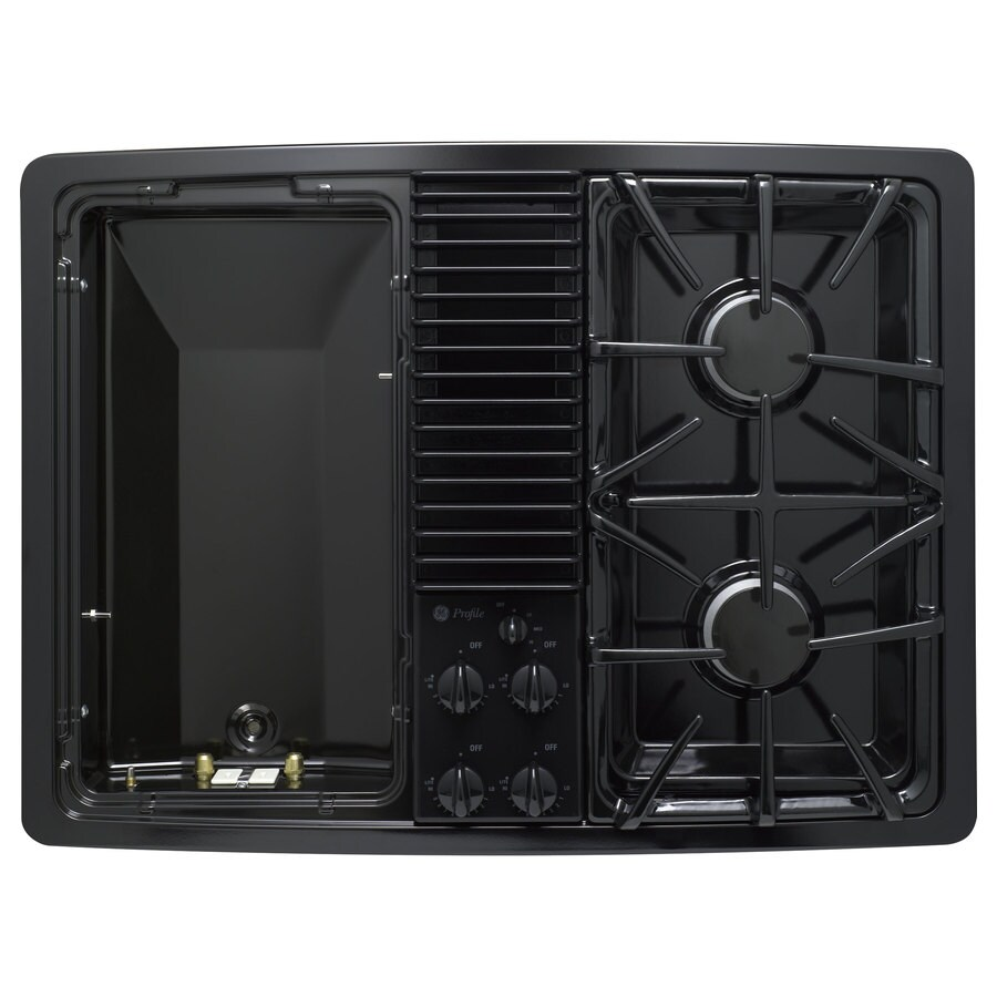 GE Profile 30-in 2-Burner Downdraft Gas Cooktop (Black)