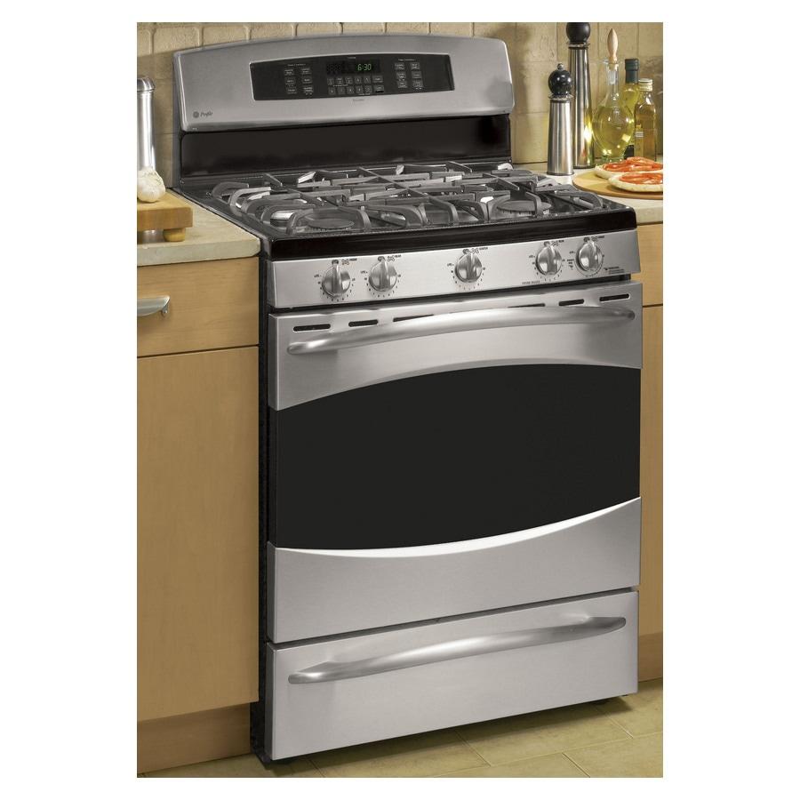 shop ge profile 30 inch 5 burner freestanding gas range color stainless steel at. Black Bedroom Furniture Sets. Home Design Ideas