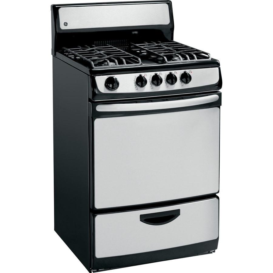 GE Freestanding 3-cu ft Gas Range (Stainless Steel) (Common: 24-in; Actual: 24-in)