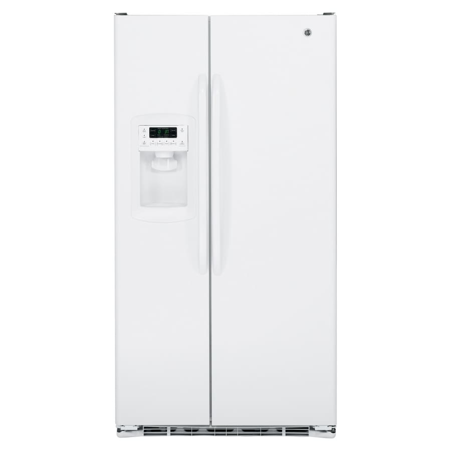 GE 22.7-cu ft Side-By-Side Counter-Depth Refrigerator with Single Ice Maker (High-Gloss White)