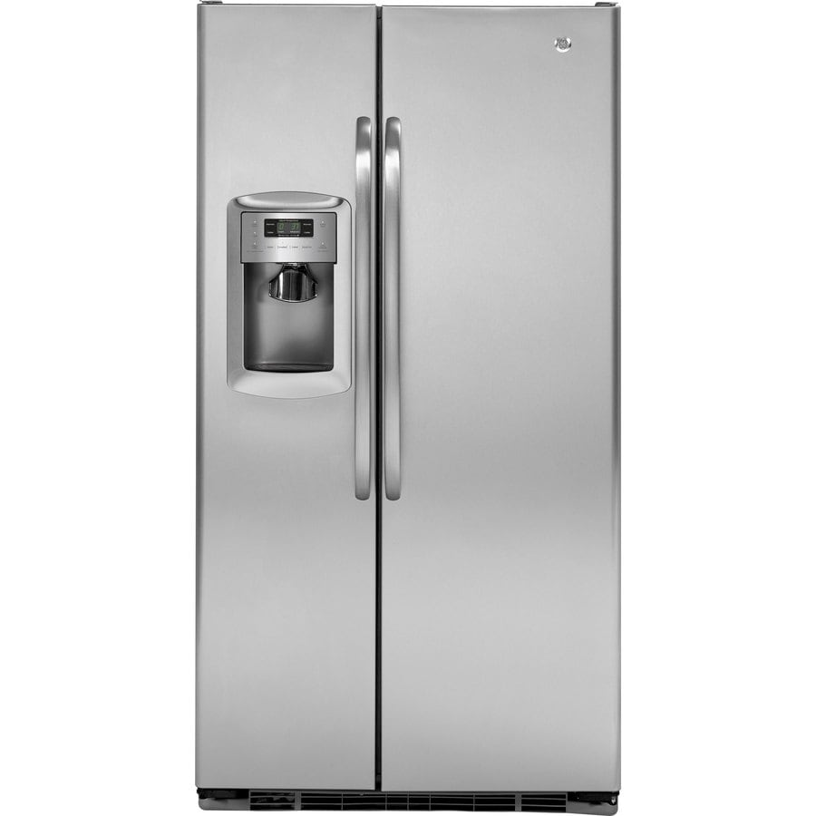 GE 22.7-cu ft Side-By-Side Counter-Depth Refrigerator with Single Ice Maker (Stainless (With Gray Case))