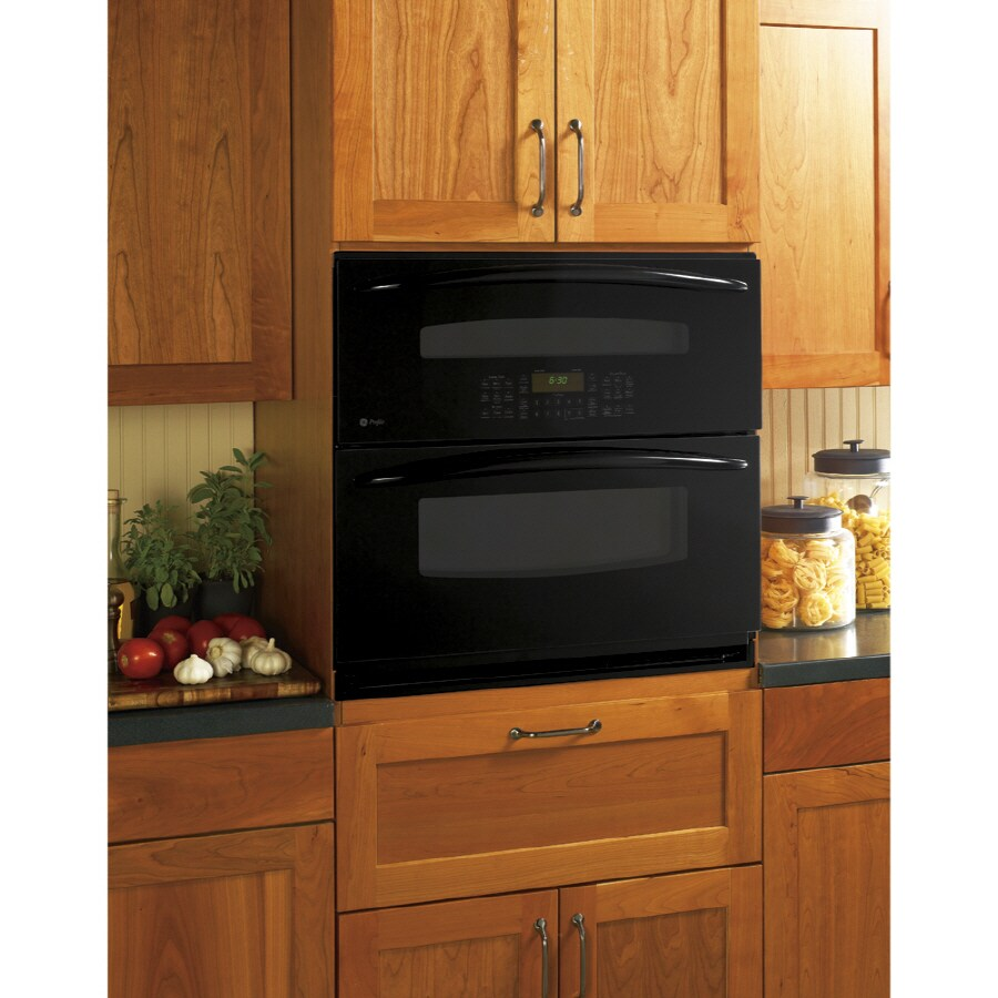 GE Profile Self-Cleaning Self-Cleaning Convection Multi-Fan European Element Double Electric Wall Oven (Black) (Common: 30-in; Actual: 29.75-in)