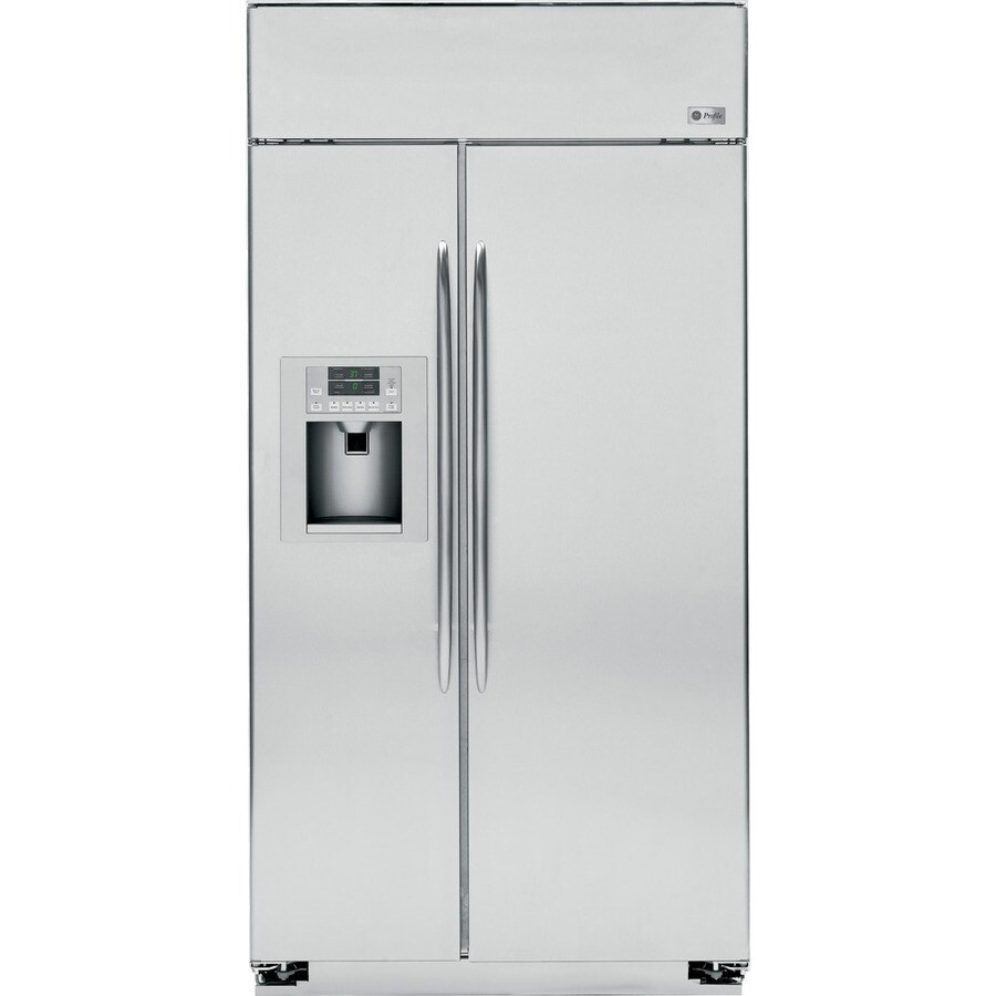 GE Profile 25.2-cu ft Side-by-Side Counter-Depth Refrigerator with Single Ice Maker (Stainless Steel)