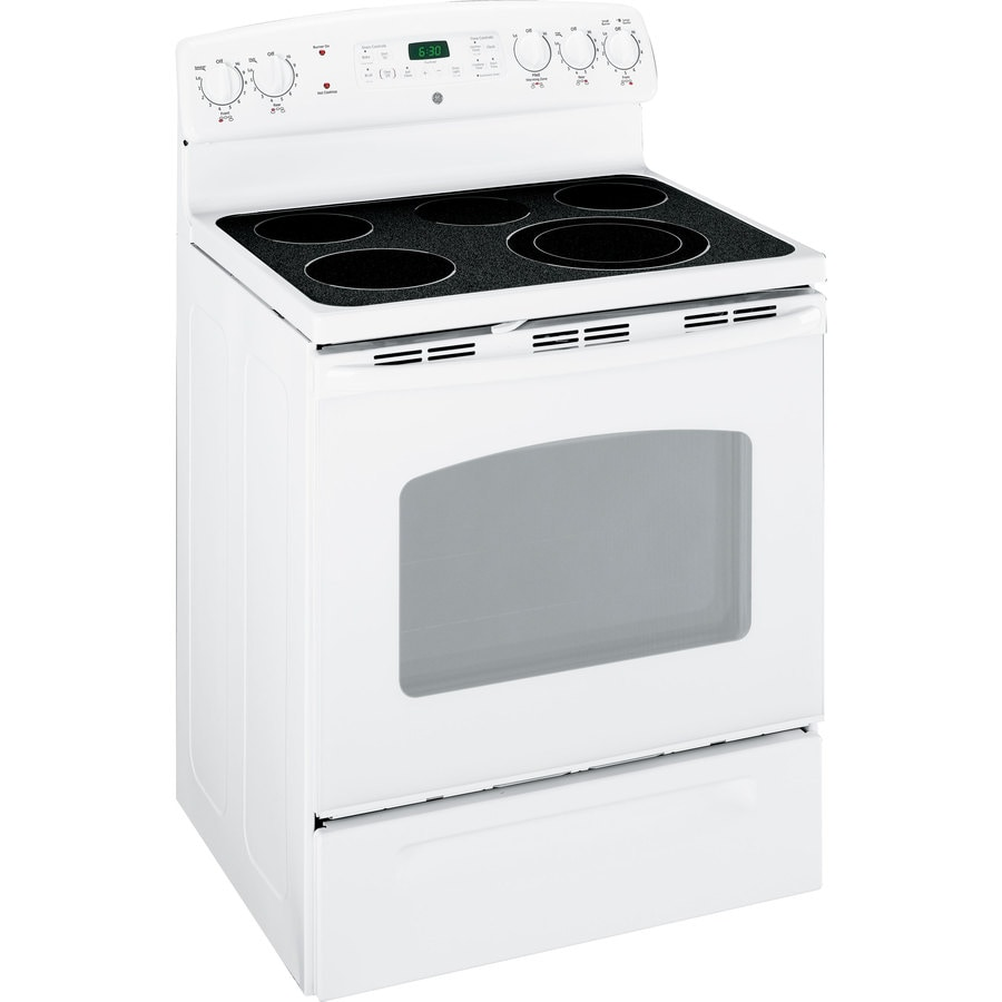 GE Smooth Surface Freestanding 5-Element 5.3-cu ft Self-Cleaning Electric Range (White On White) (Common: 30-in; Actual: 29.88-in)