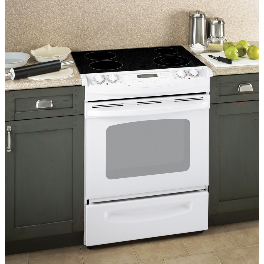 GE 30-in Smooth Surface 4.4 cu ft Self-Cleaning Slide-In Electric Range (White)
