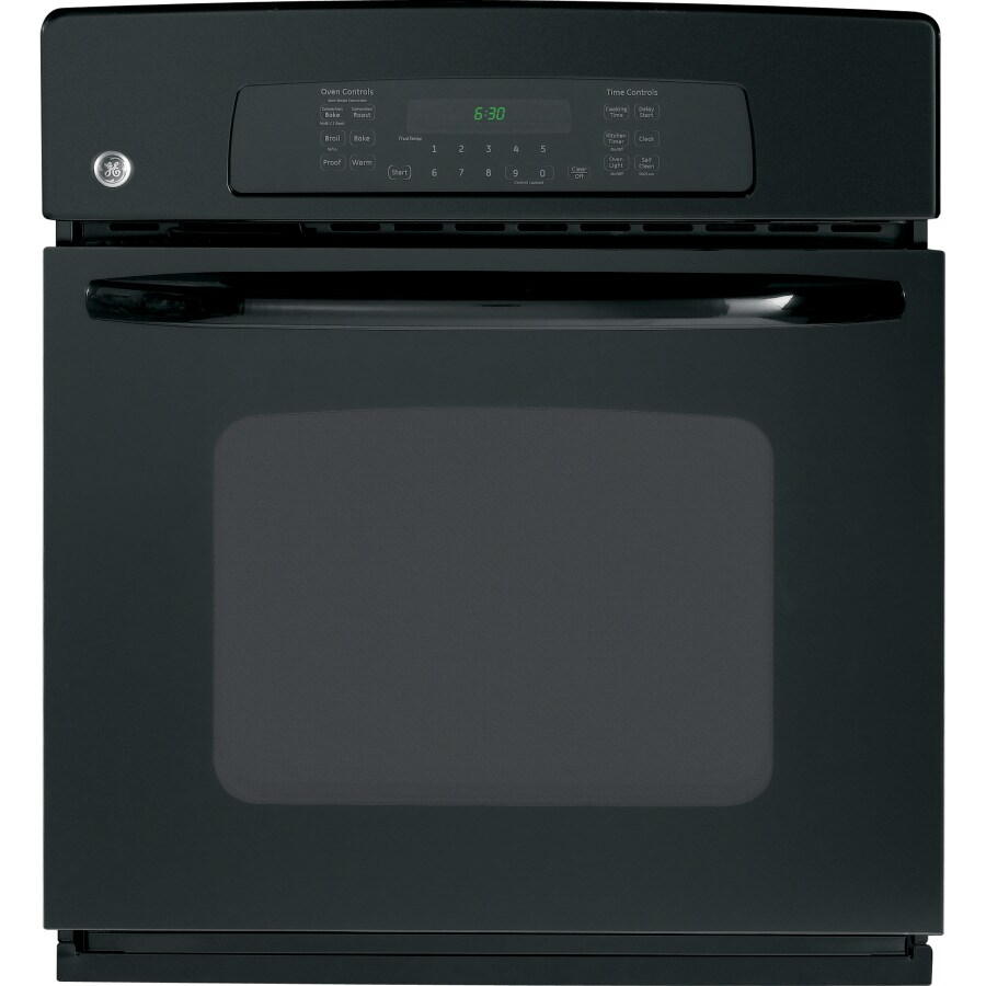 GE 27-in Self-Cleaning Convection Single Electric Wall Oven (Black)