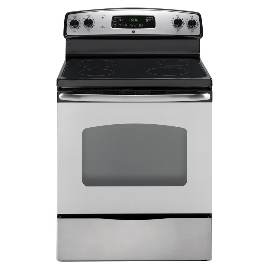 GE Smooth Surface Freestanding 5.3-cu ft Self-Cleaning Electric Range (Stainless Steel) (Common: 30-in; Actual: 29.87-in)