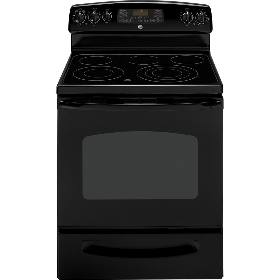 GE 30-in Freestanding Smooth Surface 5-Element 5.3 cu ft Self-Cleaning Convection Electric Range (Black)