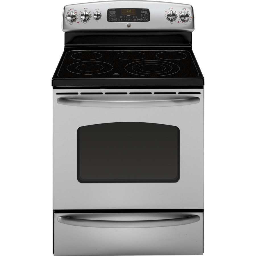 GE Smooth Surface Freestanding 5-Element 5.3-cu ft Self-Cleaning with Steam Convection Electric Range (Stainless) (Common: 30-in; Actual: 29.875-in)
