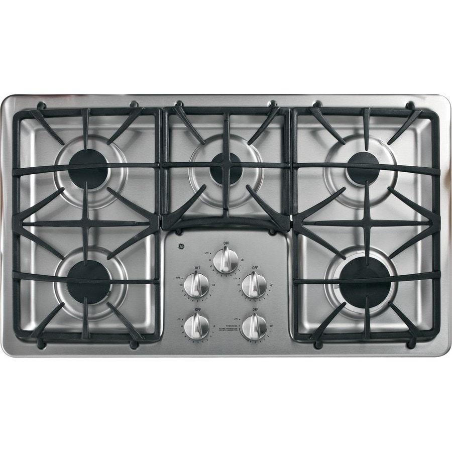 shop ge profile 5 burner gas cooktop stainless steel common 36 in actual 36 in at. Black Bedroom Furniture Sets. Home Design Ideas