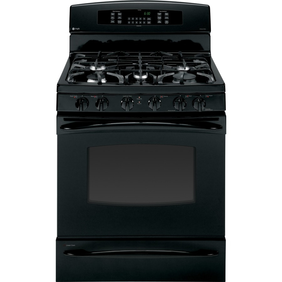 GE Profile 30-in 5-Burner 5.4-cu ft/1-cu ft Self-Cleaning Double Oven Convection Dual Fuel Range (Black)