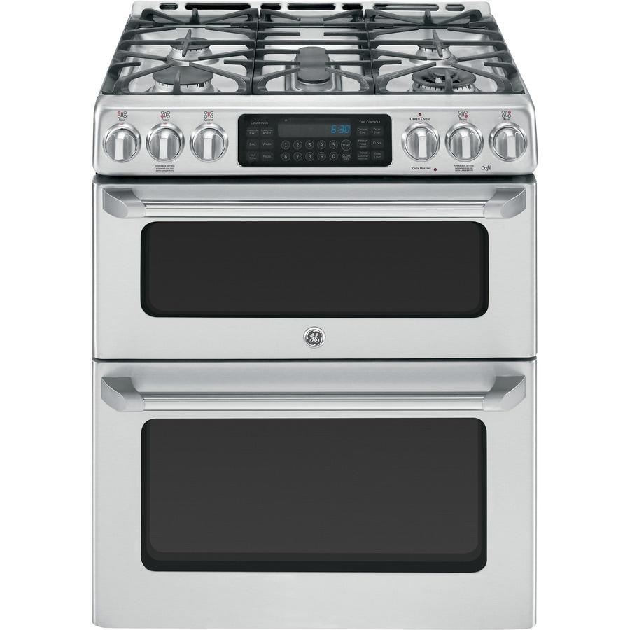 shop ge cafe 30 in 5 burner 4 3 cu ft 2 4 cu ft self cleaning oven convection single