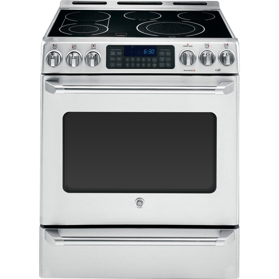 GE Cafe Smooth Surface Freestanding 5-Element 6.4-cu ft Self-Cleaning Convection Electric Range (Stainless Steel) (Common: 30-in; Actual: 30-in)