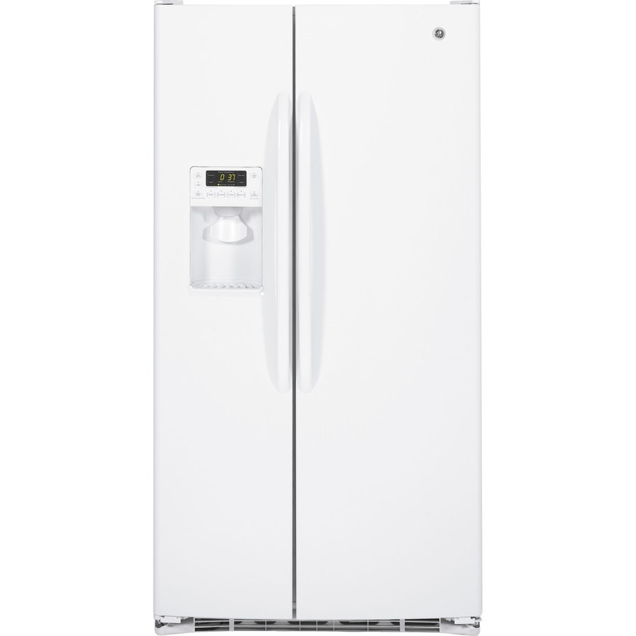 GE 25.9-cu ft Side-by-Side Refrigerator with Single Ice Maker (White)