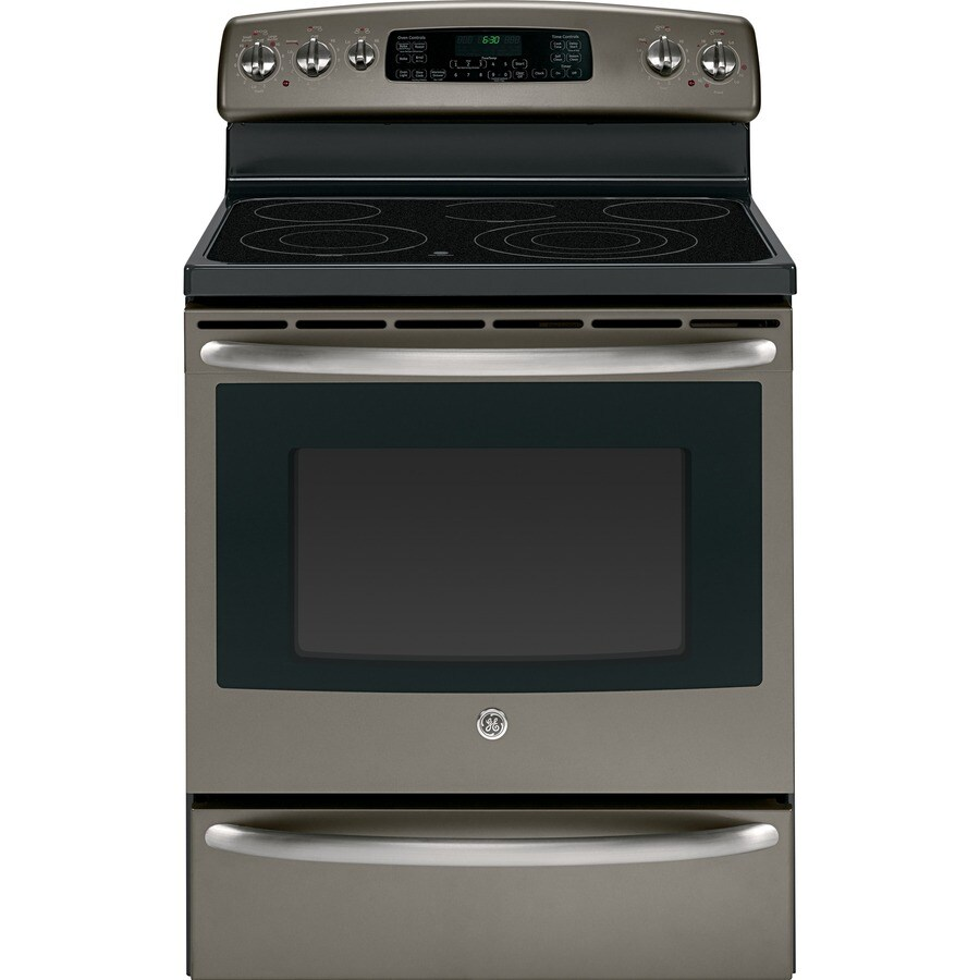GE 30-in Freestanding Smooth Surface 5-Element 5.3 cu ft Self-Cleaning Convection Electric Range (Slate)