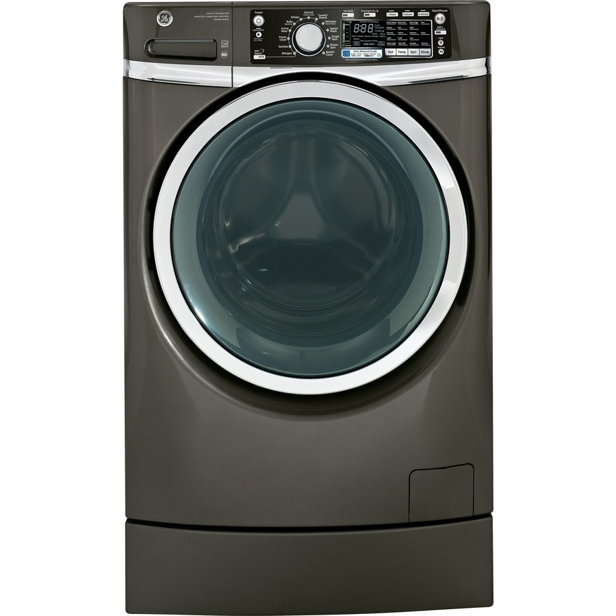 GE 4.8-cu ft High-Efficiency Front-Load Washer with Steam Cycle (Metallic Carbon) ENERGY STAR