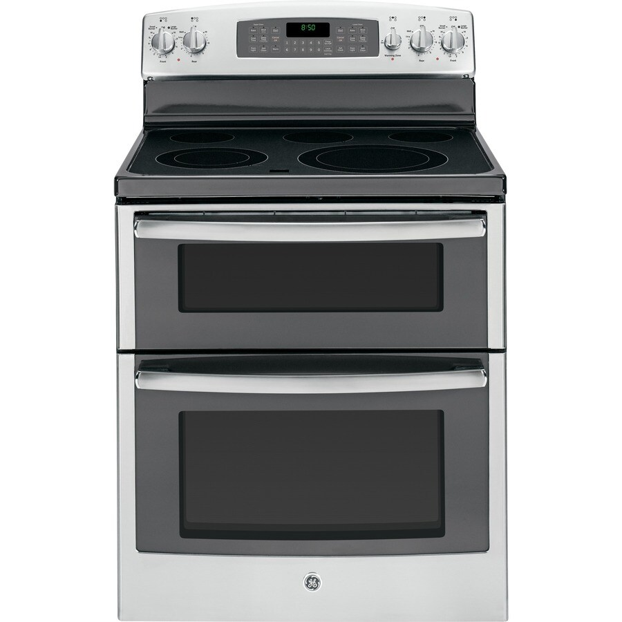 GE 30-in Smooth Surface 5-Element 2.2-cu ft / 4.4-cu ft Self-Cleaning Double Oven Electric Range (Stainless Steel)