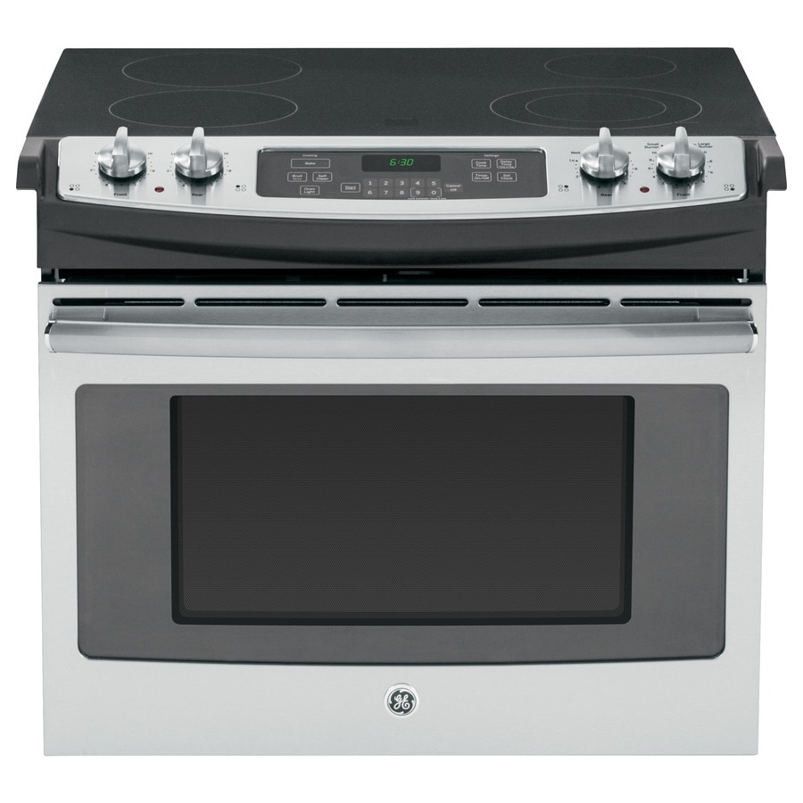 GE 30-in Smooth Surface 4.4-cu ft Self-Cleaning Drop-In Electric Range (Stainless Steel)