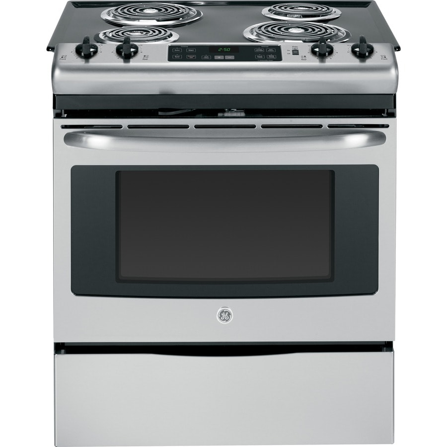shop ge slide in electric range stainless steel common 30 in actual 31 25 in at lowes