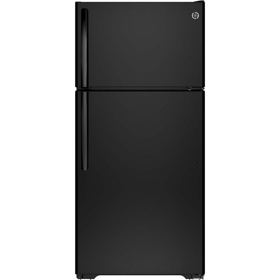 GE 14.6-cu ft Top-Freezer Refrigerator (Black) ENERGY STAR
