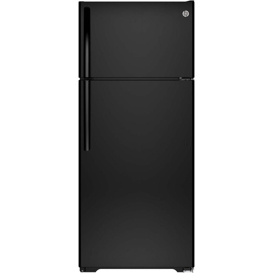 GE 17.5-cu ft Top-Freezer Refrigerator with Single Ice Maker (Black) ENERGY STAR