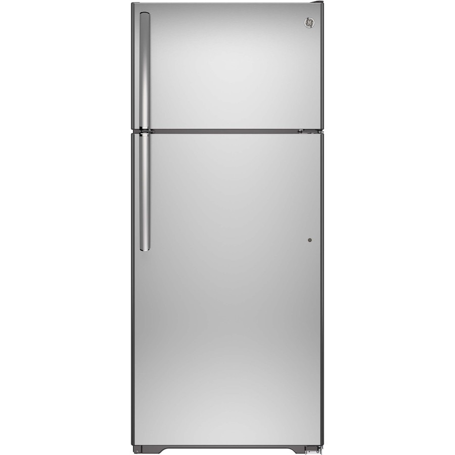 GE 17.5-cu ft Top-Freezer Refrigerator with Single Ice Maker (Stainless Steel) ENERGY STAR
