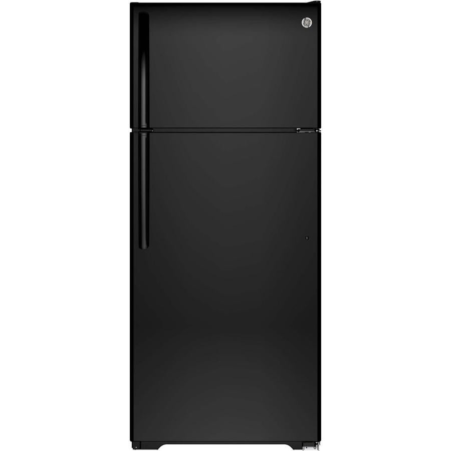 GE 17.6-cu ft Top-Freezer Refrigerator with Single Ice Maker (Black) ENERGY STAR