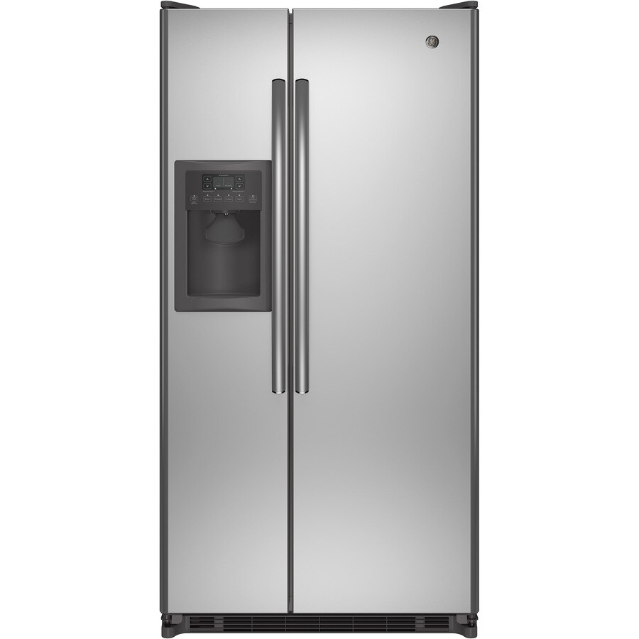 GE 21.84-cu ft Side-by-Side Refrigerator with Single Ice Maker (Stainless Steel) ENERGY STAR