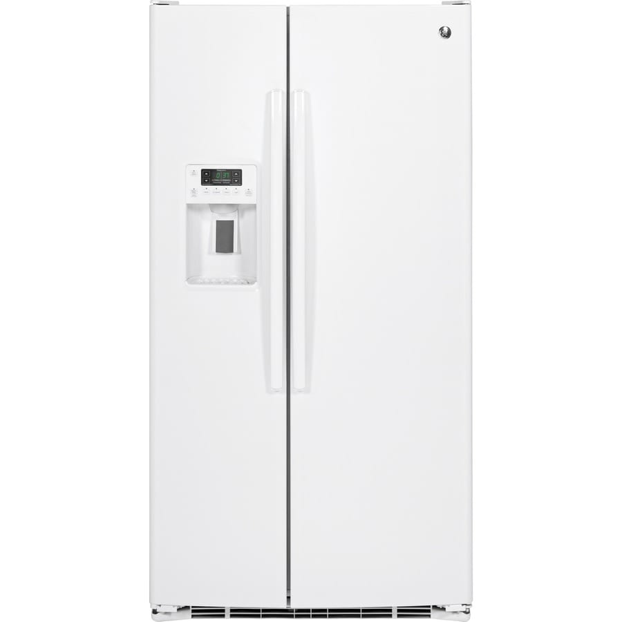 GE 25.4-cu ft Side-by-Side Refrigerator with Single Ice Maker (White) ENERGY STAR