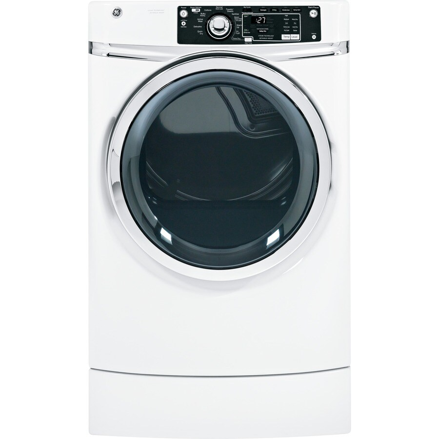 GE 8.1-cu ft Gas Dryer with Steam Cycle (White)