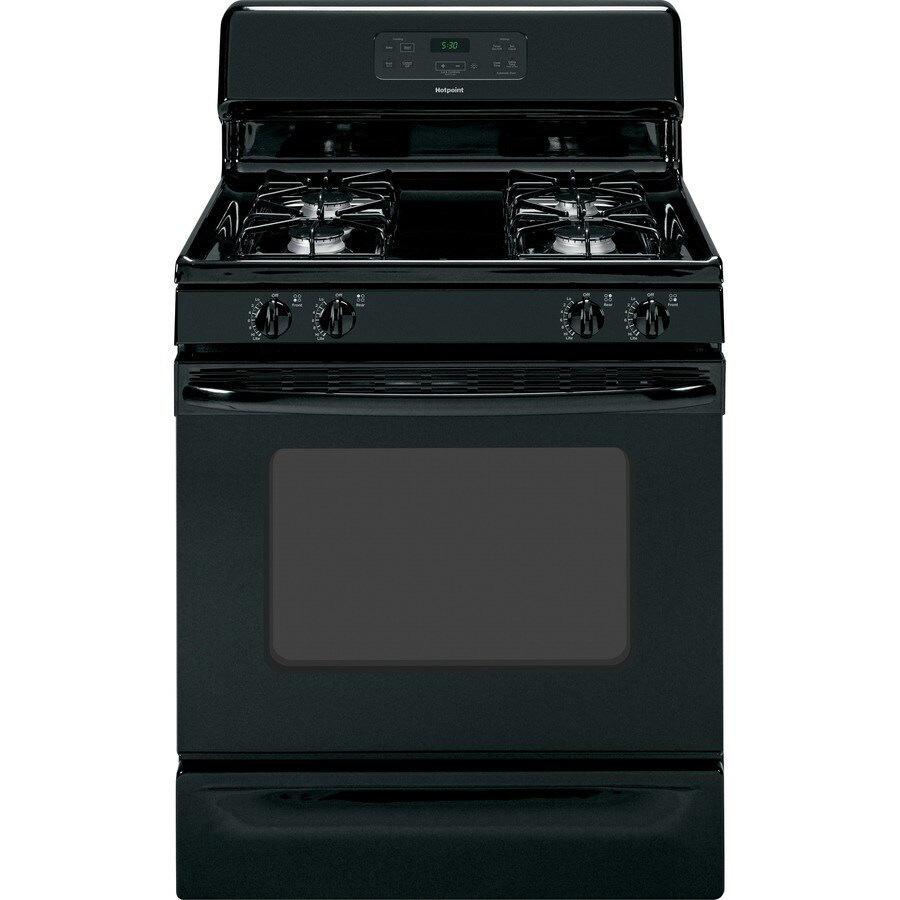 Gas Ranges >> Shop Hotpoint Freestanding 4.8-cu ft Gas Range (Black) (Common: 30-in; Actual: 30-in) at Lowes.com