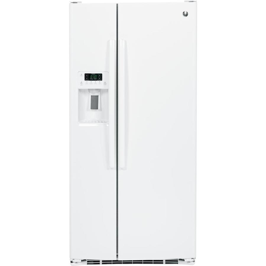 GE 22.5-cu ft Side-by-Side Refrigerator with Single Ice Maker (White)