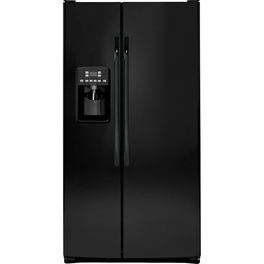 Hotpoint 25.4-cu ft Side-by-Side Refrigerator with Single Ice Maker (Black)