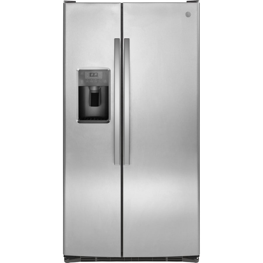 GE 25.4-cu ft Side-by-Side Refrigerator with Single Ice Maker (Stainless Steel)