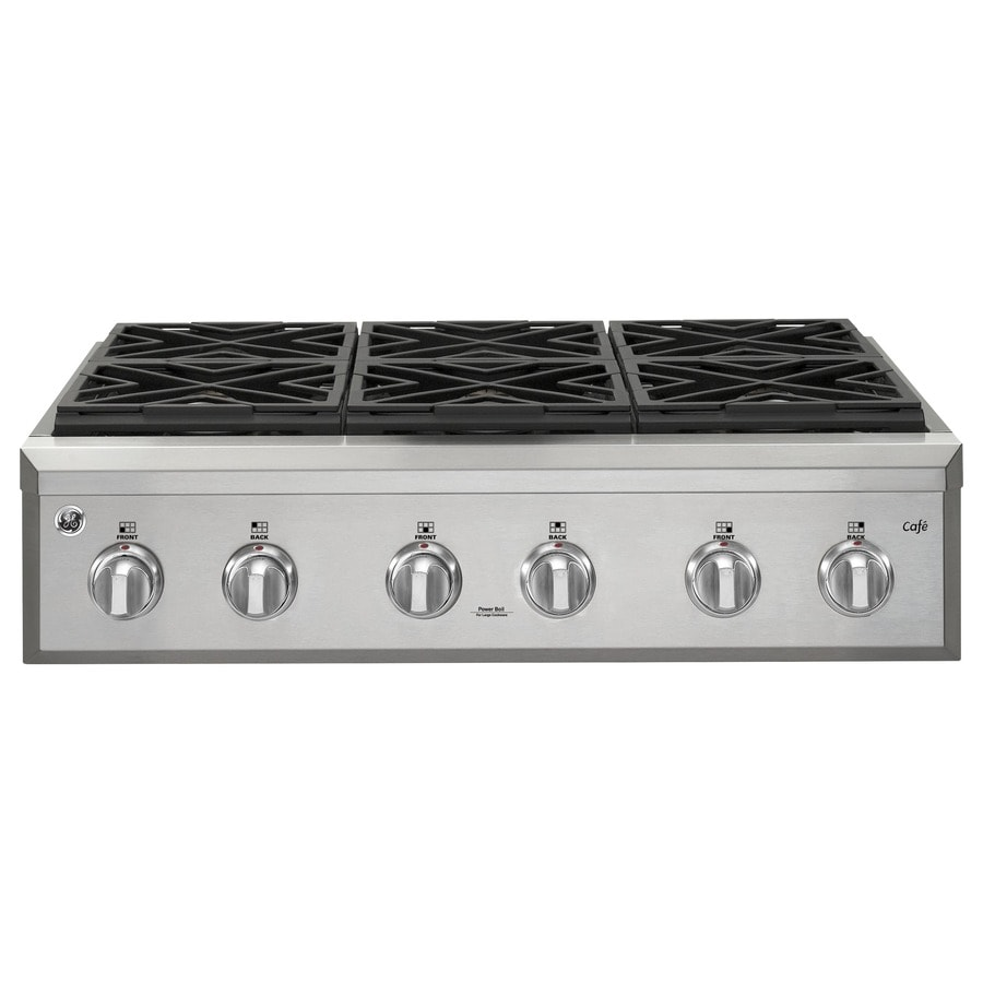 GE Cafe 6-Burner Gas Cooktop (Stainless Steel) (Common: 36-in; Actual: 35.875-in)