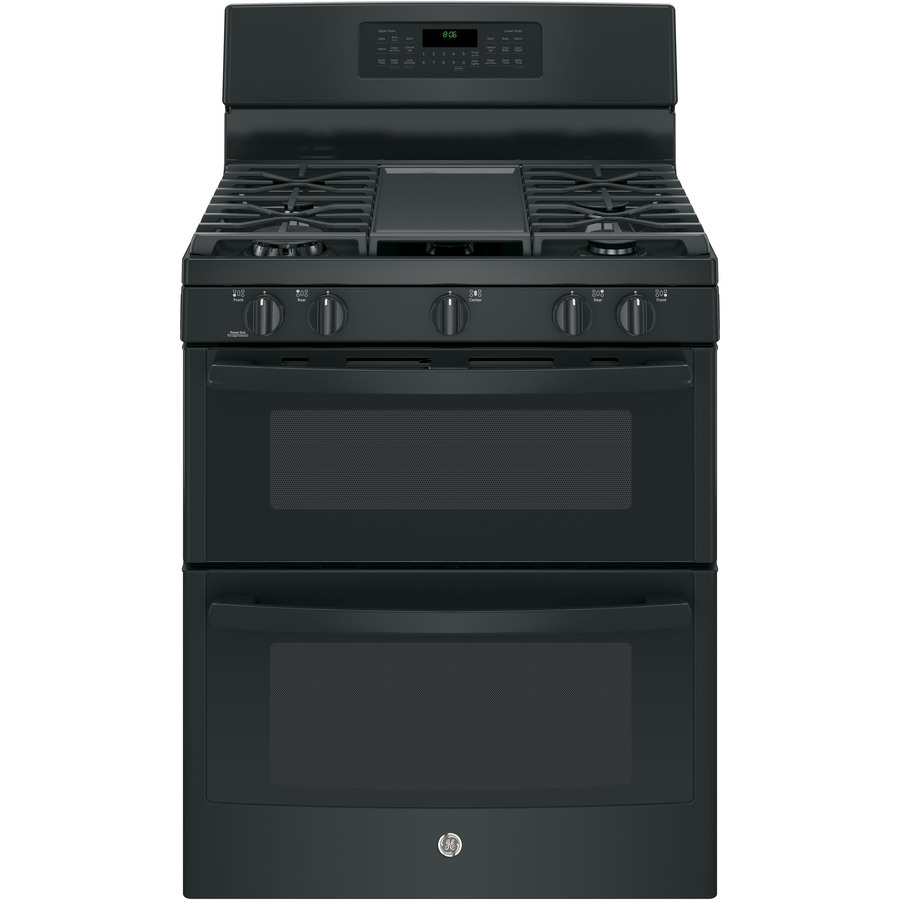Shop ge 30 in 5 burner 2 5 cu ft self cleaning double oven convection gas range black at - Gas stove double oven reviews ...