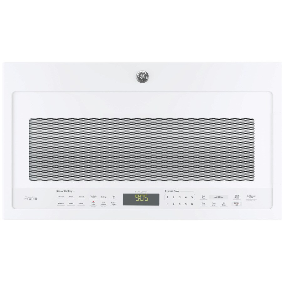 GE Profile 2.1-cu ft Over-the-Range Microwave with Sensor Cooking Controls (White) (Common: 30-in; Actual: 29.9375-in)