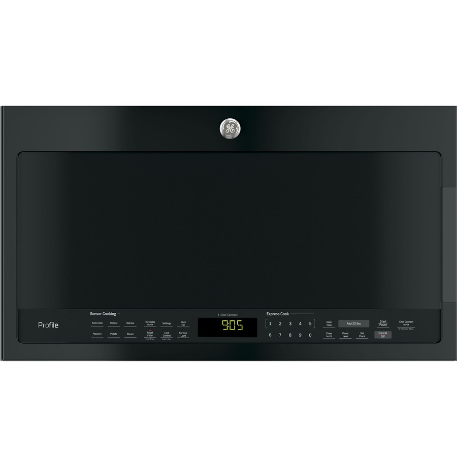 GE Profile 2.1-cu ft Over-the-Range Microwave with Sensor Cooking Controls (Black) (Common: 30-in; Actual: 29.9375-in)