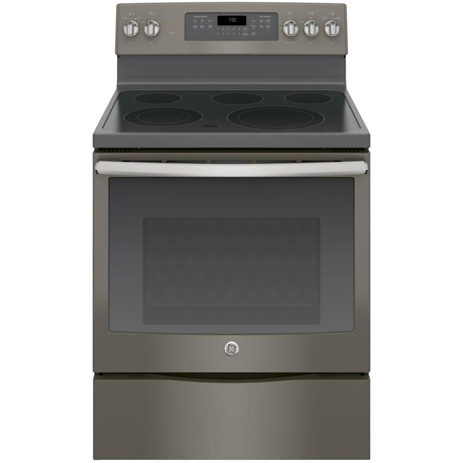 GE Smooth Surface Freestanding 5-Element 5.3-cu ft Self-Cleaning Convection Electric Range (Slate) (Common: 30-in; Actual: 29.875-in)