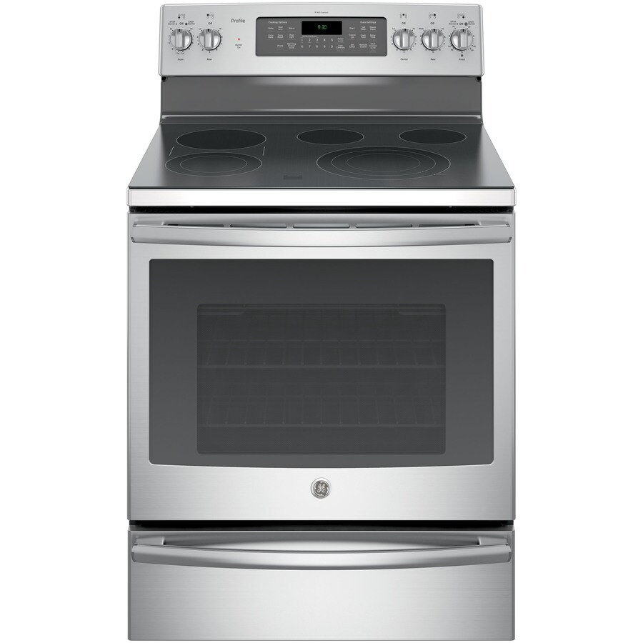 GE Profile Smooth Surface Freestanding 5-Element 5.3-cu ft Self-Cleaning Convection Electric Range (Stainless Steel) (Common: 30-in; Actual: 29.875-in)