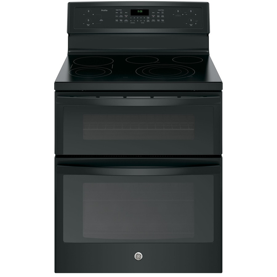 GE 30-in Smooth Surface 5-Element 4.4-cu ft / 2.2-cu ft Double Oven Single-Fan Electric Range (Black)