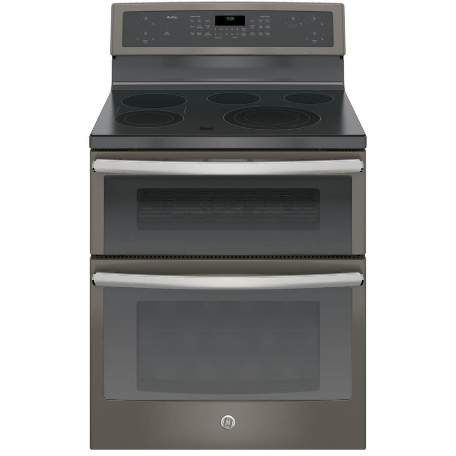 GE 30-in Smooth Surface 5-Element 4.4-cu ft / 2.2-cu ft Double Oven Single-Fan Electric Range (Slate)